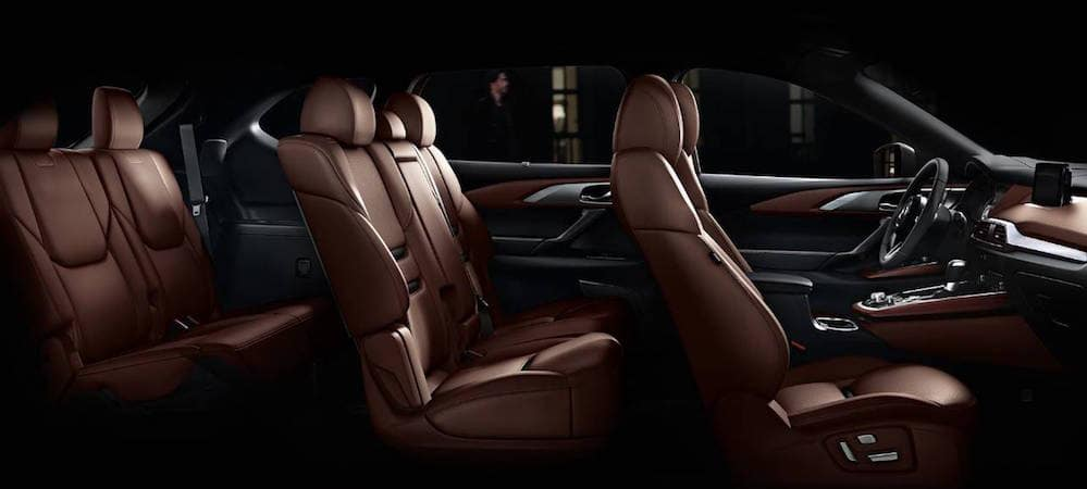 Three rows of leather seats inside 2019 Mazda CX-9