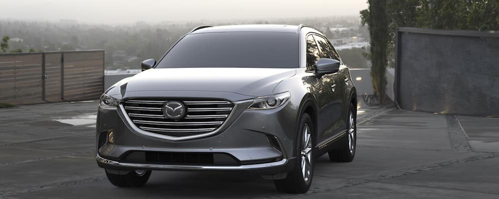 Machine gray 2019 Mazda CX-9 with ability to tow up to 3,500 lbs