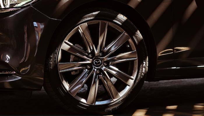Closeup of alloy wheel on Mazda6