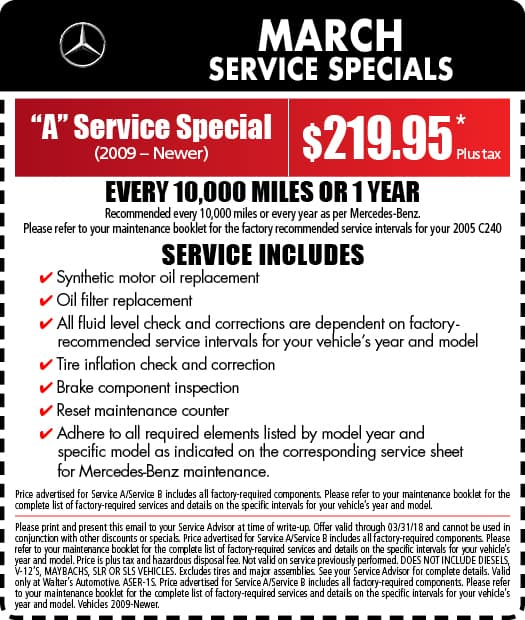 MercedesBenz Service Specials MercedesBenz Near Redlands CA - Mercedes benz service coupons
