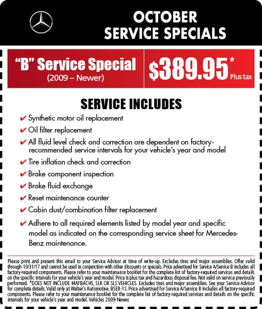 Mercedes benz service specials auto repair in riverside for What is the b service for mercedes benz
