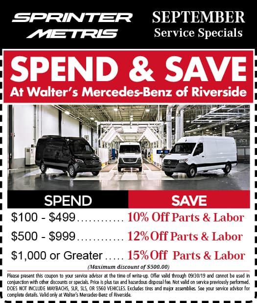 See The Service Specials at Walter's Mercedes-Benz of Riverside