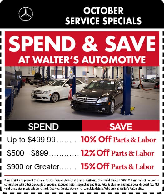 Mercedes benz service specials auto repair in riverside for Walter s mercedes benz riverside