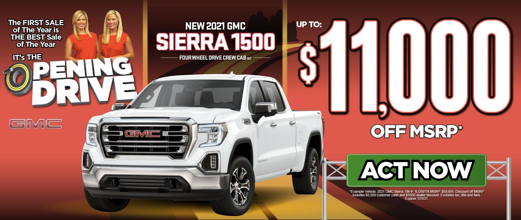 New 2021 GMC Sierra 1500 4WD Crew Cab SLT Over $11,000 Off MSRP*