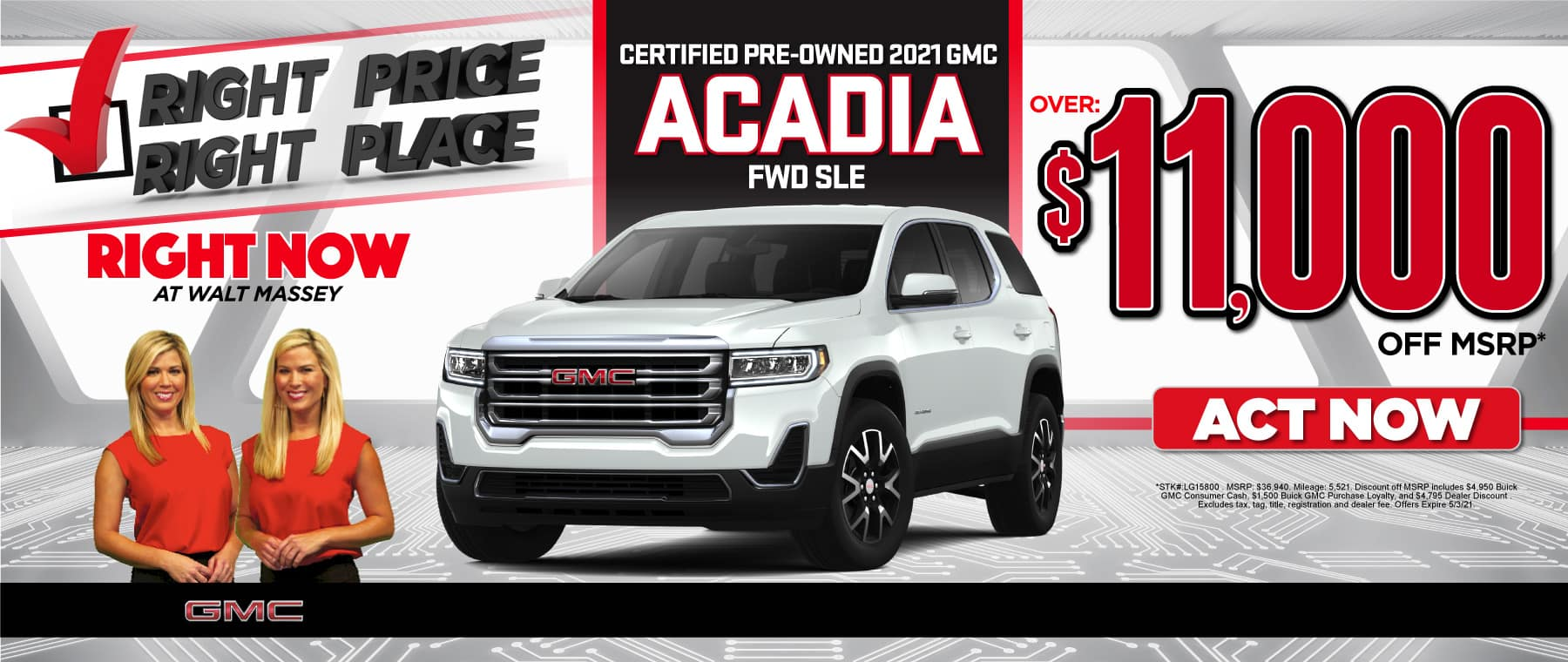 Certified Pre-Owned 2021 GMC Acadia - $11,000 off msrp - Act Now