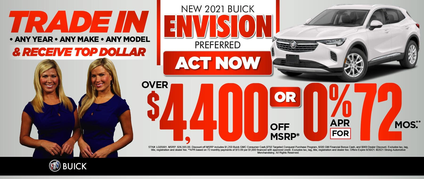 2021 Buick Envision Preferred Over $4,400 off MRSP* OR 0% for 72 months** ACT NOW